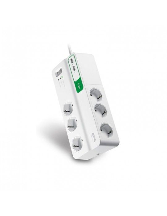 Power Strip - APC Essential SurgeArrest 6 outlets with 5V, 2.4A 2 port USB charger, 230V Germany