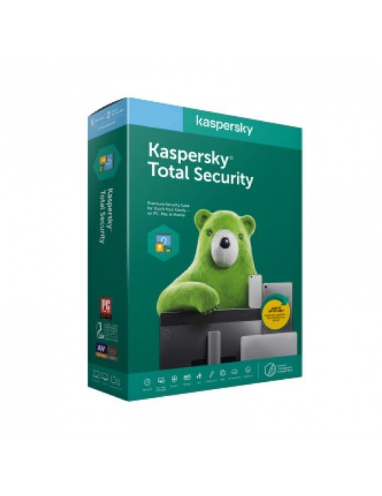 Software - Kaspersky Total Security Multi Device (3 Users + 1 License Free) - Windows, Mac, Android )- Media & License / 1Y