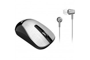 Mouse - Mouse+Earphone Genius Combo MH-8015 Silver