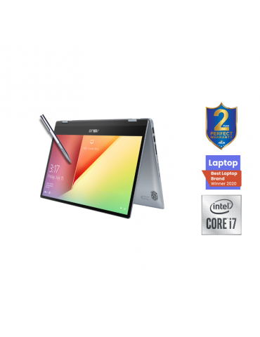 ASUS VivoBook Flip 14-I7-10510U-TP412FA-EC400T-16GB-SSD 512GB-Intel Shared-14 FHD-Win10-SILVER BLUE-Stylus pen free bundle
