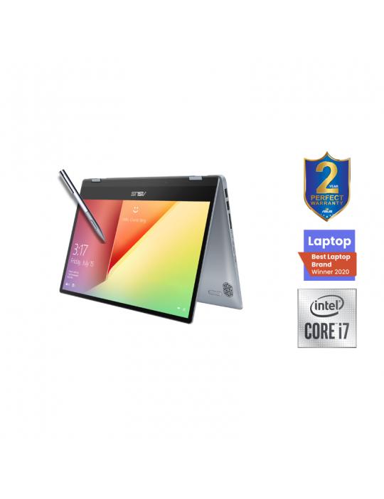 كمبيوتر محمول - ASUS VivoBook Flip 14-I7-10510U-TP412FA-EC400T-16GB-SSD 512GB-Intel Shared-14 FHD-Win10-SILVER BLUE-Stylus pen