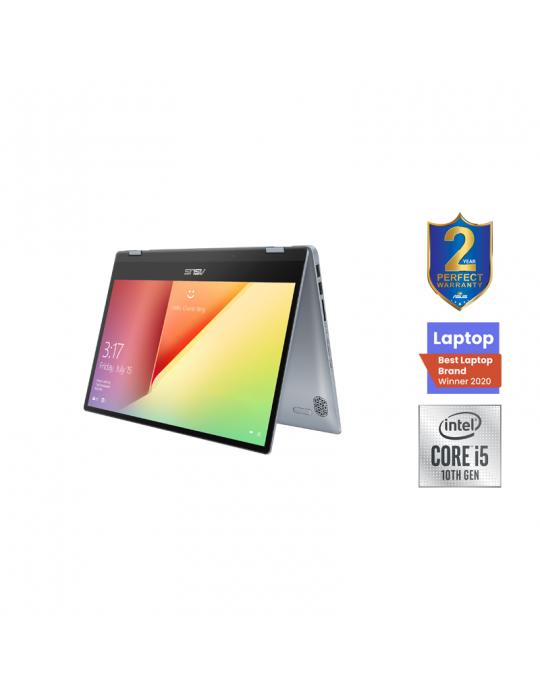 Laptop - ASUS VivoBook Flip-i5-10210U-TP412FA-EC437T-8GB-SSD 512GB-Intel Shared-14 FHD Touch-Win10-Silver Blue-Stylus pen free