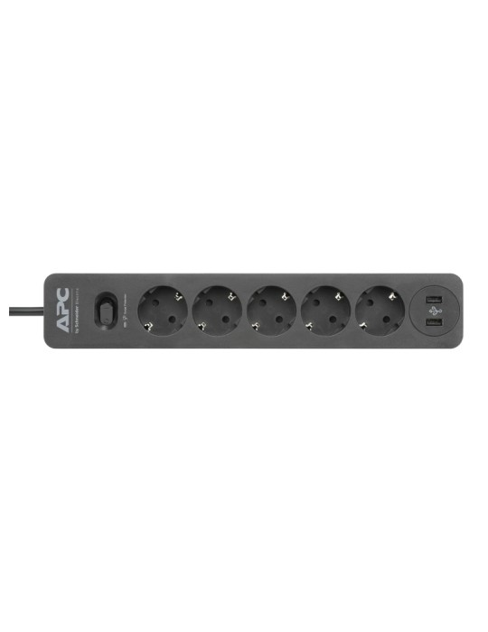 Power Strip - APC Essential SurgeArrest 5 Outlet-2 USB Ports-230V-Germany-Black