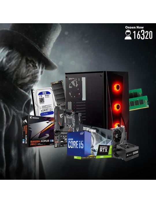Gaming PC - Bundle Intel Core i5-10600-B460M DS3H V2-RTX2060 Twin Fan 6GB-16GB-1TB HDD-256GB SSD-Case CORSAIR RGB-CV550 550W